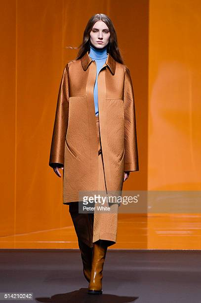 A model walks the runway during the Hermes show as part of the Paris Fashion Week Womenswear Fall/Winter 2016/2017 on March 7 2016 in Paris France