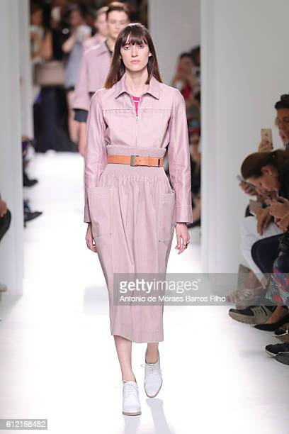 A model walks the runway during the Hermes show as part of the Paris Fashion Week Womenswear Spring/Summer 2017 on October 3 2016 in Paris France