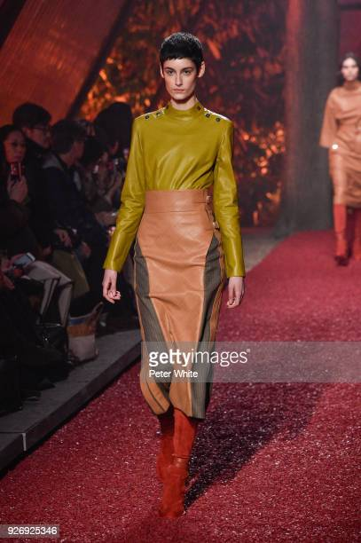 A model walks the runway during the Hermes show as part of the Paris Fashion Week Womenswear Fall/Winter 2018/2019 on March 3 2018 in Paris France