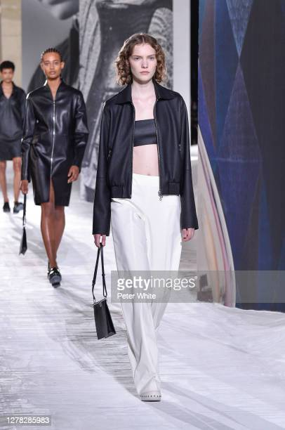 Model walks the runway during the Hermes Womenswear Spring/Summer 2021 show as part of Paris Fashion Week on October 03, 2020 in Paris, France.