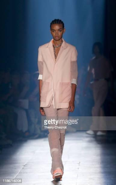 Model walks the runway during the Heron Preston Menswear Spring Summer 2020 show as part of Paris Fashion Week on June 18, 2019 in Paris, France.