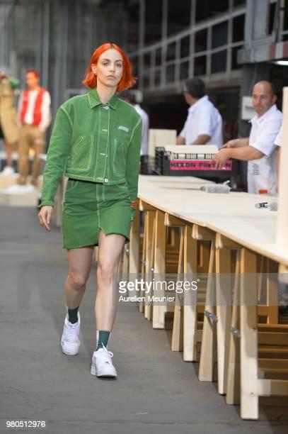 A model walks the runway during the Heron Preston Menswear Spring/Summer 2019 'En Vogue' Presentation as part of Paris Fashion Week on June 21 2018...