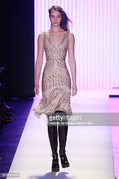 Model walks the runway during the Herve Leger By Max Azria show as a part of Fall 2016 New York Fashion Week at The Arc, Skylight at Moynihan Station...