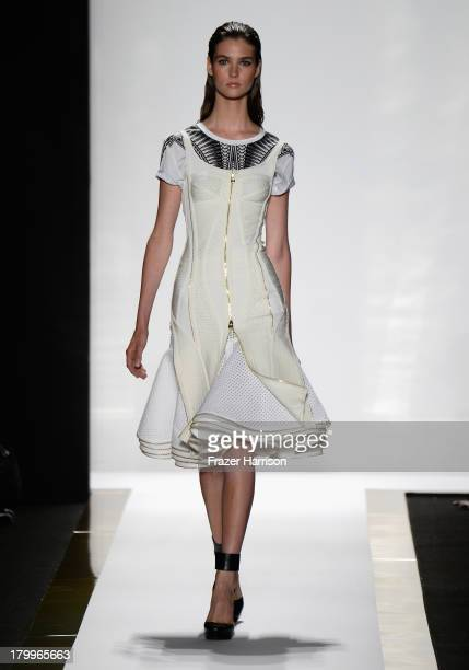 Model walks the runway during the Herve Leger By Max Azria Spring 2014 fashion show at Mercedes-Benz Fashion Week Spring 2014 - Official Coverage -...