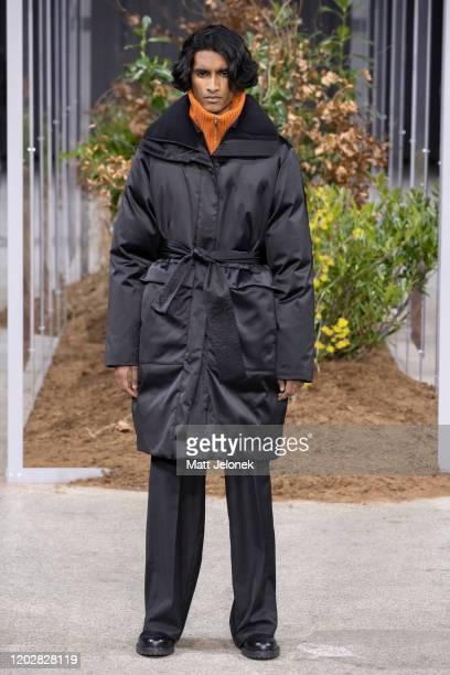 Model walks the runway during the Holzweiler show during Copenhagen Fashion Week Autumn/Winter 2020 on January 28, 2020 in Copenhagen, Denmark.