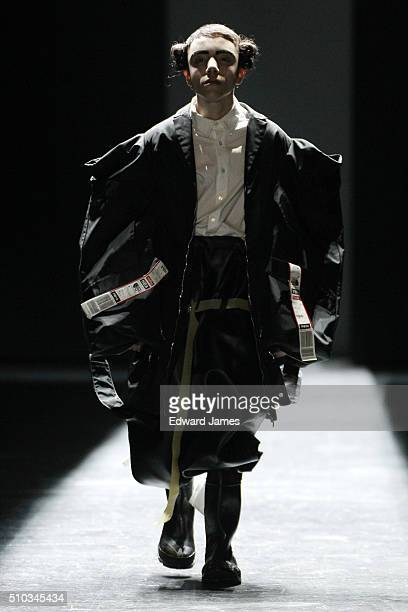 Model walks the runway during the Hood by Air fashion show at the Arc at Skylight Moynihan Station on February 14, 2016 in New York City.