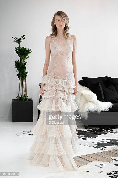Image contains nudity A model walks the runway during the Houghton Bridal Fall/Winter 2016 Presentation on October 8 2015 in New York City