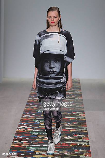 A model walks the runway during the House of Cannon show at MercedesBenz Fashion Week Resort 17 Collections at Carriageworks on May 20 2016 in Sydney...