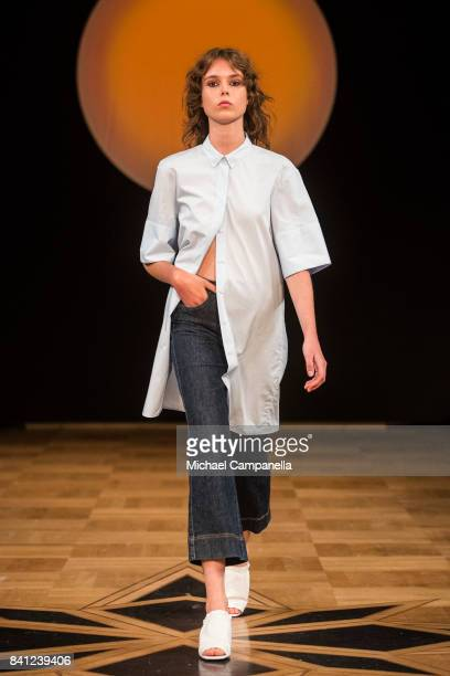Model walks the runway during the House of Dagmar show on second day of Stockholm Fashion Week Spring/Summer 18 at Grand Hotel on August 30, 2017 in...