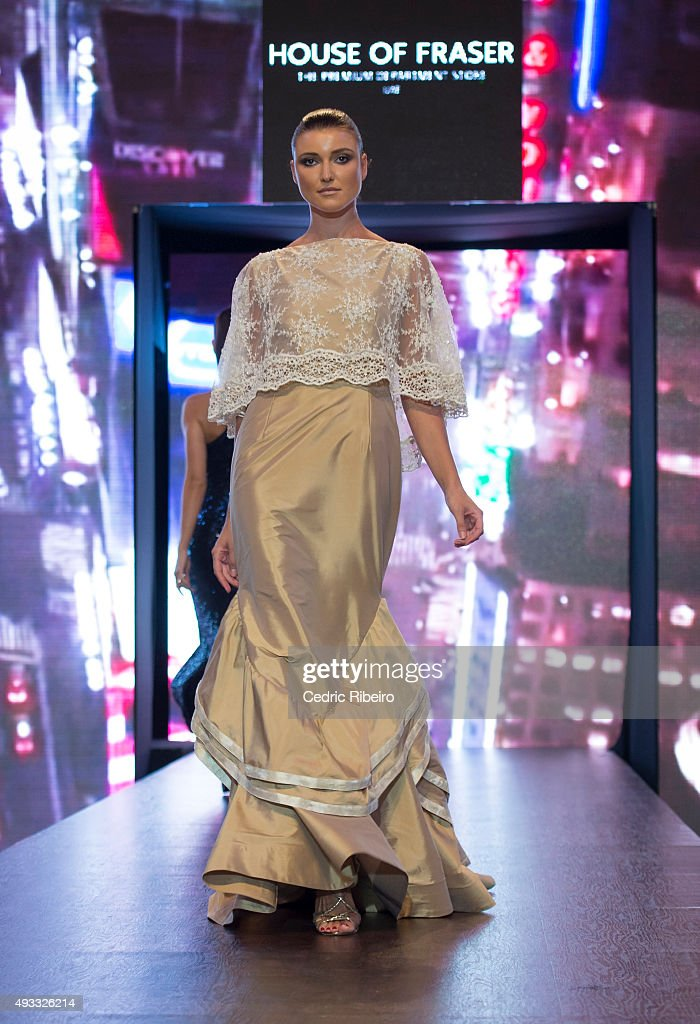 A model walks the runway during the House of Fraser show at Yas Mall Fashion Week on October 16, 2015 in Abu Dhabi, United Arab Emirates.