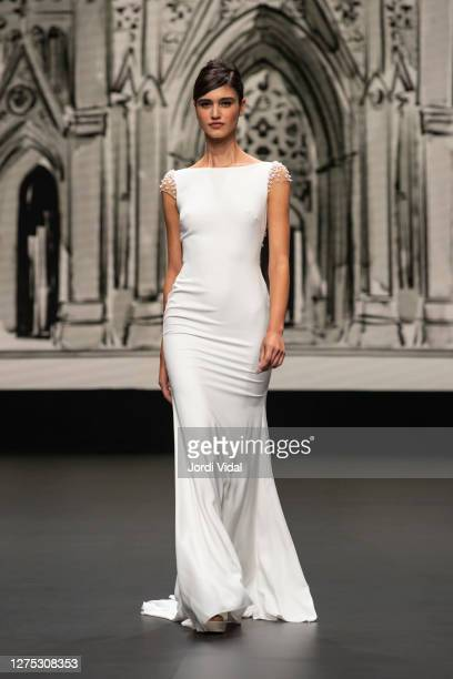 A model walks the runway during the House of St Patrick show as part of the Valmont Barcelona Bridal Fashion Week on September 22 2020 in Barcelona...