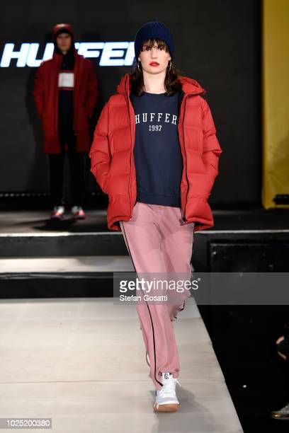 A model walks the runway during the Huffer show during New Zealand Fashion Week 2018 at The Powerstation on August 30 2018 in Auckland New Zealand