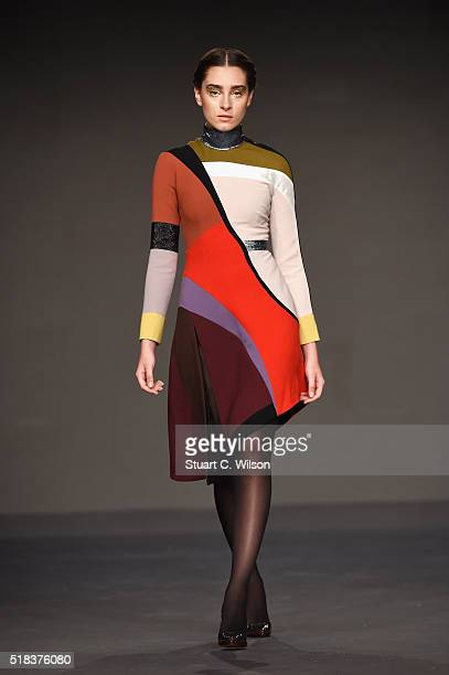A model walks the runway during the Hussein Bazaza show at Fashion Forward Fall/Winter 2016 held at the Dubai Design District on March 31 2016 in...