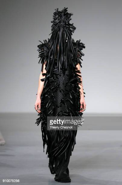 A model walks the runway during the Hyun Mi Nielsen Spring Summer 2018 show as part of Paris Fashion Week on January 25 2018 in Paris France
