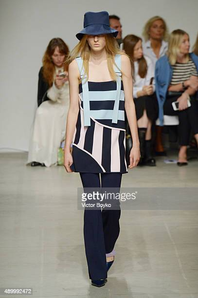 A model walks the runway during the Iceberg fashion show as part of Milan Fashion Week Spring/Summer 2016 on September 25 2015 in Milan Italy