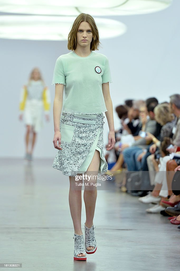 A model walks the runway during the Iceberg show as a part of Milan Fashion Week Womenswear Spring/Summer 2014 on September 20, 2013 in Milan, Italy.