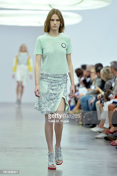 A model walks the runway during the Iceberg show as a part of Milan Fashion Week Womenswear Spring/Summer 2014 on September 20 2013 in Milan Italy