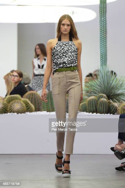 A model walks the runway during the Iceberg show as a part of Milan Fashion Week Womenswear Spring/Summer 2015 on September 19 2014 in Milan Italy