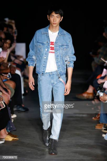 A model walks the runway during the Icosae Menswear Spring/Summer 2018 show as part of Paris Fashion Week on June 21 2017 in Paris France