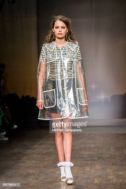 A model walks the runway during the Ida Sjostedt show on the second day of Stockholm Fashion Week on August 30 2016 in Stockholm Sweden