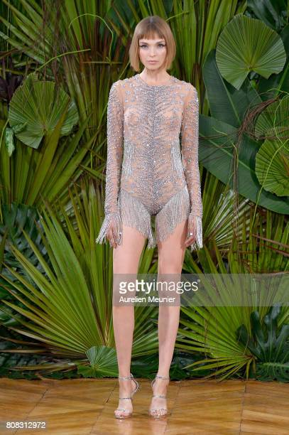 A model walks the runway during the Idan Cohen Haute Couture Fall/Winter 20172018 show as part of Haute Couture Paris Fashion Week on July 4 2017 in...
