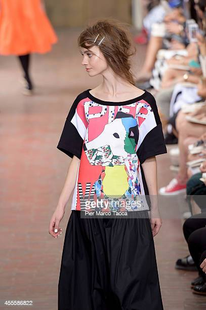 A model walks the runway during the I'M Isola Marras show as part of Milan Fashion Week Womenswear Spring/Summer 2015 on September 17 2014 in Milan...