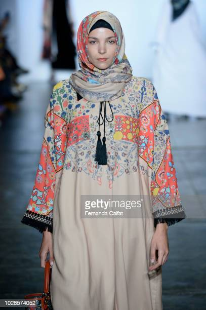 A model walks the runway during the Indonesian Diversity fashion show during September 2018 New York Fashion Week at Industria Studios on September 7...