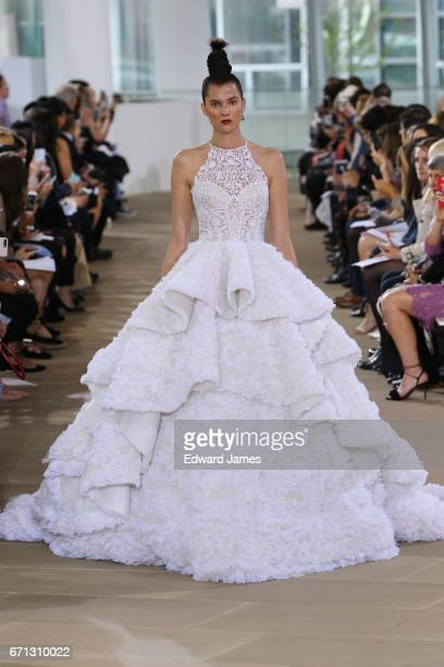 A model walks the runway during the Ines di Santo Spring/Summer 2018 bridal fashion show at The IAC Building on April 21 2017 in New York City