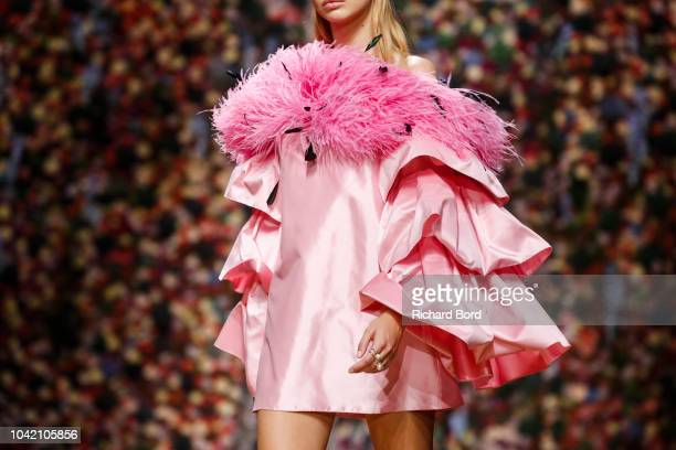 A model walks the runway during the Ingie show as part of the Paris Fashion Week Womenswear Spring/Summer 2019 on September 27 2018 in Paris France