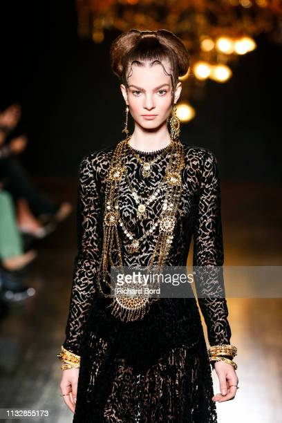 A model walks the runway during the Ingie show as part of the Paris Fashion Week Womenswear Fall/Winter 2019/2020 on February 28 2019 in Paris France