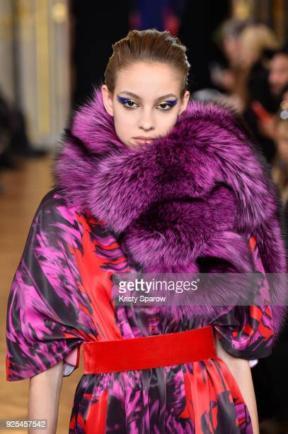 A model walks the runway during the Ingie show as part of the Paris Fashion Week Womenswear Fall/Winter 2018/2019 on February 28 2018 in Paris France