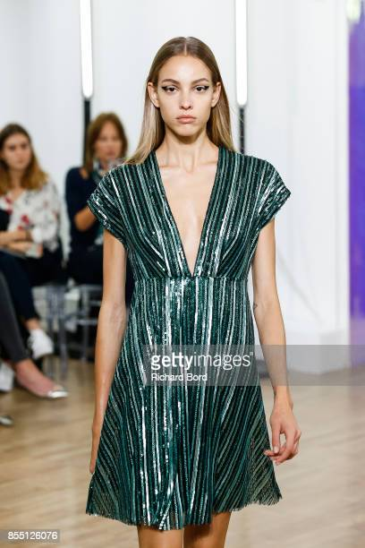 A model walks the runway during the Ingie show at Jeu de Paume as part of Paris Fashion Week Womenswear Spring/Summer 2018 on September 28 2017 in...