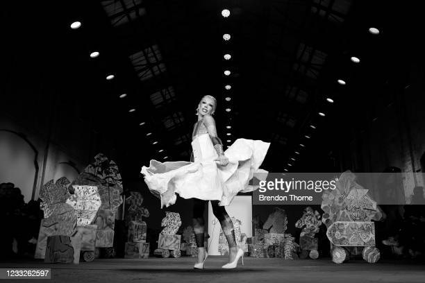 Model walks the runway during the Iordanes Spyridon Gogos show during Afterpay Australian Fashion Week 2021 Resort '22 Collections at Carriageworks...