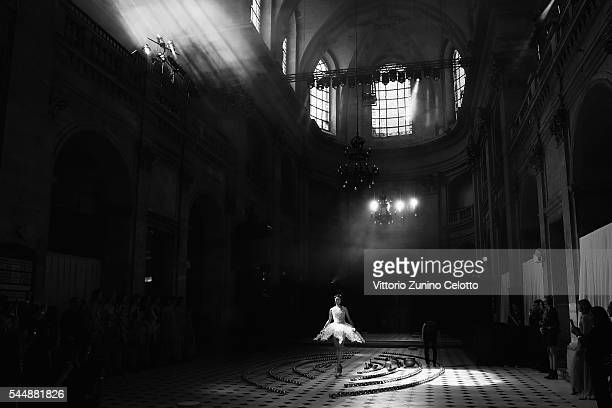 Model walks the runway during the Iris Van Herpen Haute Couture Fall/Winter 2016-2017 show as part of Paris Fashion Week on July 4, 2016 in Paris,...