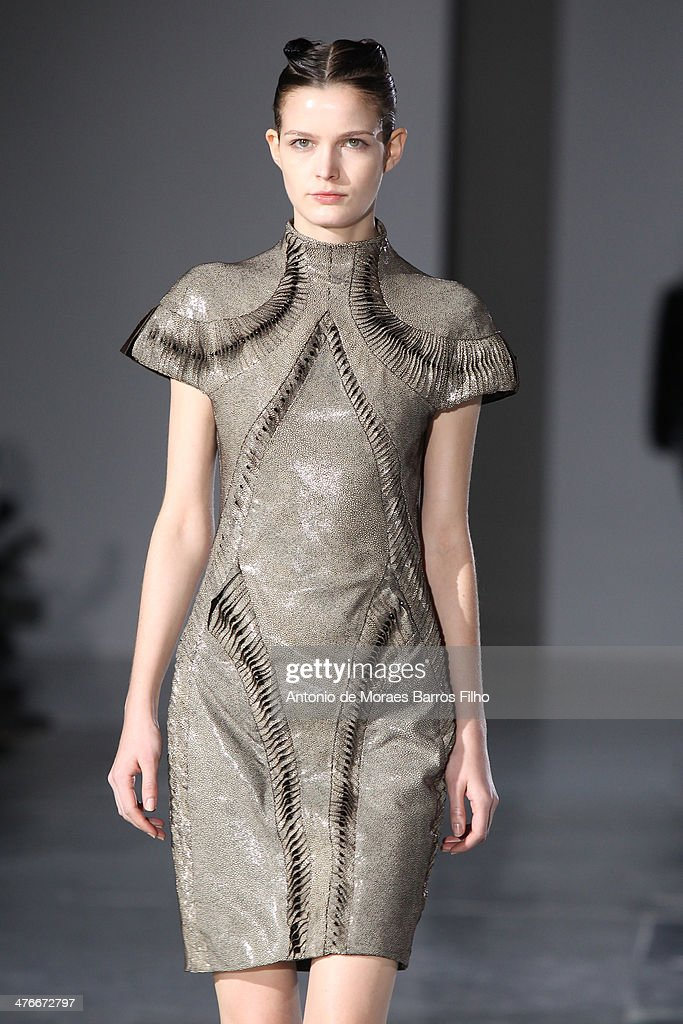 A model walks the runway during the Iris Van Herpen show as part of the Paris Fashion Week Womenswear Fall/Winter 2014-2015 on March 4, 2014 in Paris, France.