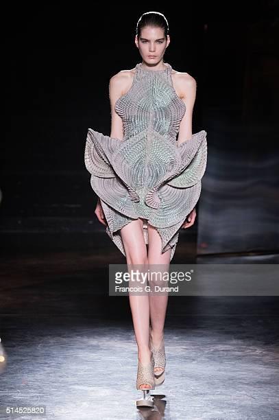 Model walks the runway during the Iris Van Herpen show as part of the Paris Fashion Week Womenswear Fall/Winter 2016/2017 on March 8, 2016 in Paris,...