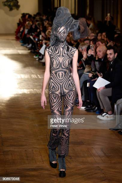A model walks the runway during the Iris Van Herpen Spring Summer 2018 show as part of Paris Fashion Week on January 22 2018 in Paris France
