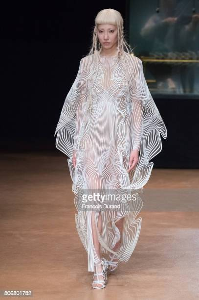 A model walks the runway during the Iris Van HerpenHaute Couture Fall/Winter 20172018 show as part of Haute Couture Paris Fashion Week on July 3 2017...