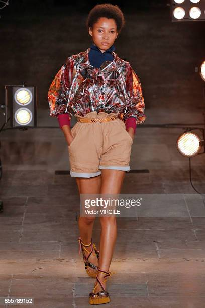 A model walks the runway during the Isabel Marant Ready to Wear Spring/Summer 2018 fashion show as part of the Paris Fashion Week Womenswear...