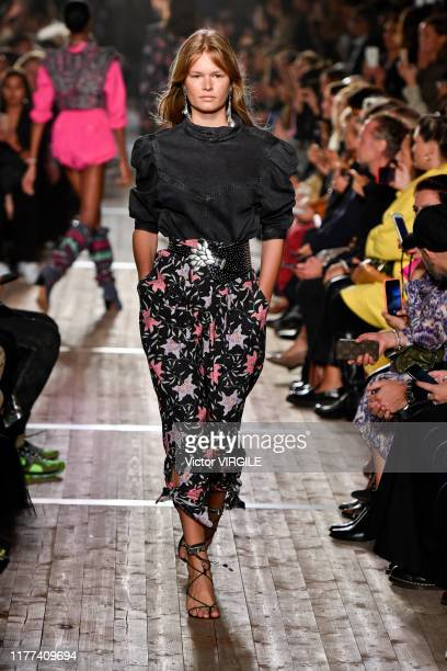 A model walks the runway during the Isabel Marant Ready to Wear Spring/Summer 2020 fashion show as part of Paris Fashion Week on September 26 2019 in...