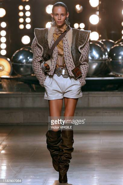 A model walks the runway during the Isabel Marant Ready to Wear fashion show as part of Paris Fashion Week Womenswear Fall/Winter 2019/2020 on...