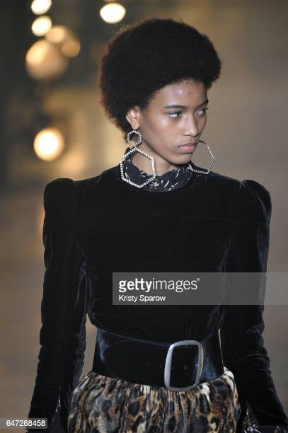 A model walks the runway during the Isabel Marant show as part of Paris Fashion Week Womenswear Fall/Winter 2017/2018 on March 2 2017 in Paris France