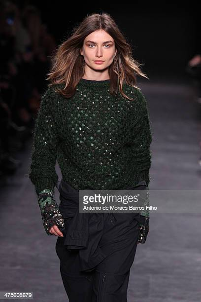 A model walks the runway during the Isabel Marant show as part of the Paris Fashion Week Womenswear Fall/Winter 20142015 on February 28 2014 in Paris...