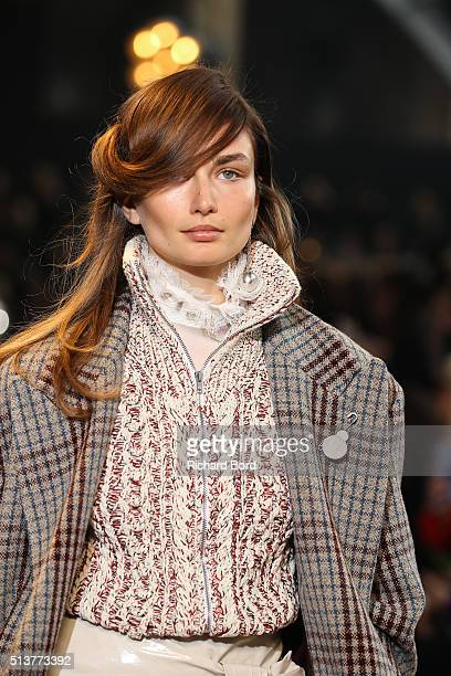 A model walks the runway during the Isabel Marant show as part of the Paris Fashion Week Womenswear Fall/Winter 2016/2017 on March 4 2016 in Paris...