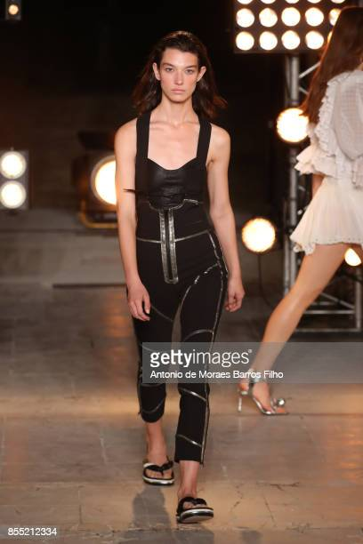 A model walks the runway during the Isabel Marant show as part of the Paris Fashion Week Womenswear Spring/Summer 2018 on September 28 2017 in Paris...