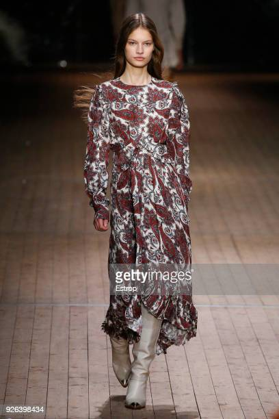 A model walks the runway during the Isabel Marant show as part of the Paris Fashion Week Womenswear Fall/Winter 2018/2019 on February 28 2018 in...