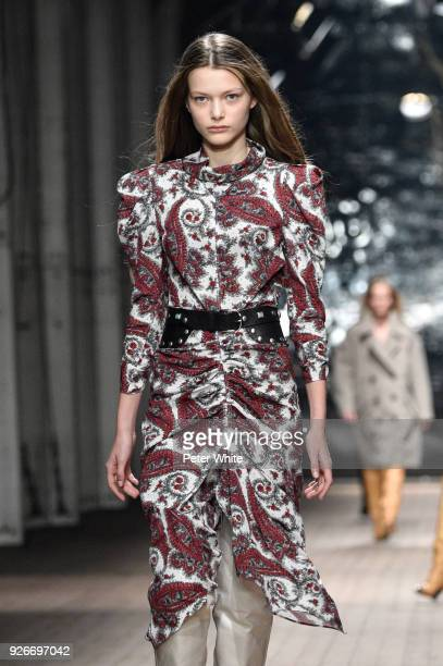 A model walks the runway during the Isabel Marant show as part of the Paris Fashion Week Womenswear Fall/Winter 2018/2019 on March 1 2018 in Paris...
