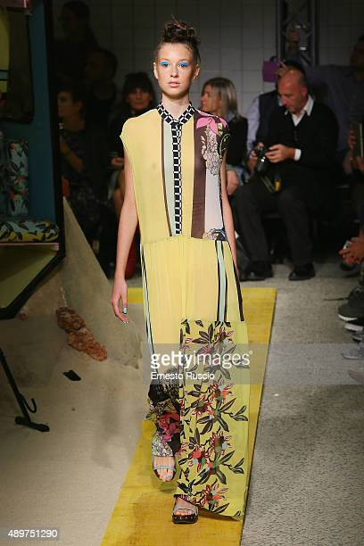 A model walks the runway during the Isola Marras fashion show as part of Milan Fashion Week Spring/Summer 2016 on September 24 2015 in Milan Italy
