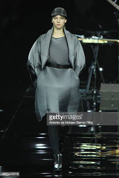 A model walks the runway during the Issey Mikaye show as part of the Paris Fashion Week Womenswear Fall/Winter 2015/2016 on March 6 2015 in Paris...