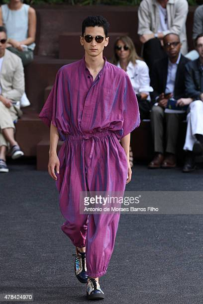 Model walks the runway during the Issey Miyake Men Menswear Spring/Summer 2016 show as part of Paris Fashion Week on June 25, 2015 in Paris, France.